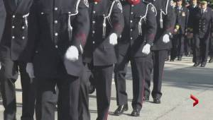 Hundreds of firefighters from across B.C. said goodbye to one of their own