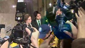 Chaotic scene as Jian Ghomeshi departs court room