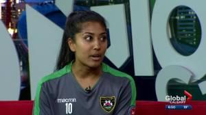 Calgary Foothills WFC midfielder and doctor Rehana Murani balances soccer and residency