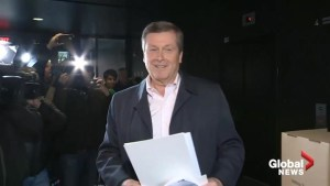 Mayor Tory casts vote, remains confident he can work with smaller council if re-elected