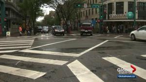 Edmonton tries out new 'pedestrian scramble' crosswalks