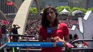 Raptors victory parade: Fans crash through barriers at media area at Nathan Phillips Square