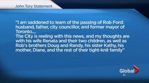 Mayor Tory: Saddened to learn of Rob Ford passing