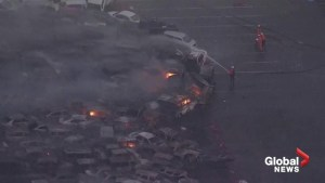 100 cars on fire  in typhoon-ravaged western Japan