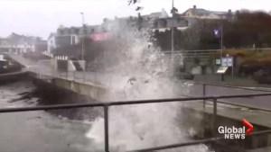 Tropical storm Ophelia batters Ireland's southern coast