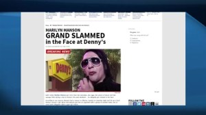 Shock Rocker Marilyn Manson reportedly punched at Alberta Denny's