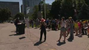Protesters speak out against sex-ed curriculum roll back