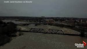 New drone footage shows extent of flooding, ice jams along Grand River