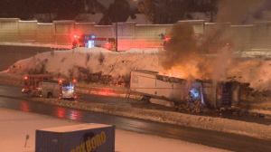 Highway 25 closed at Hochelaga exit following trailer fire