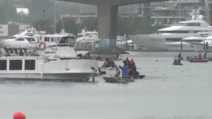 Dragon boat races disrupted by a spectator boat