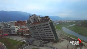 Drone video captures amazing view of tilting building damaged by Taiwan quake