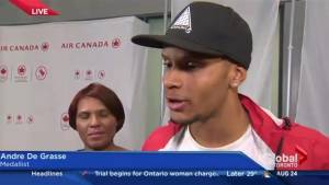 Sprinter Andre De Grasse returns home from Rio