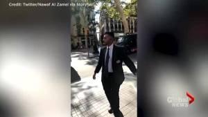 Amateur video captures chaotic scene following van attack in Barcelona