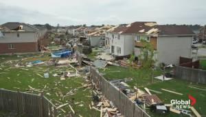 Drone captures tornado damage in Angus