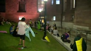 Protesters outside Queens Park lobby against  Ford's Bill 31 during special midnight session