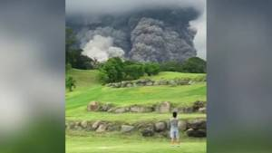 Plumes of ash rumble down Guatemalan golf course from Fuego volcano