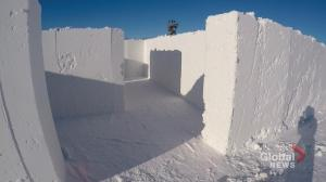 Inside view of Manitoba snow maze targeting world record