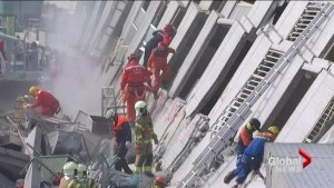 Rescuers busy trying to pull people from rubble after earthquake in Taiwan