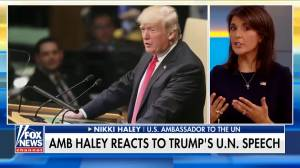 Nikki Haley tries to explain why UN audience laughed during Trump's speech (00:42)
