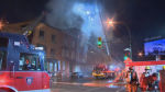 Montreal Firefighters tackle morning blaze in abandoned building