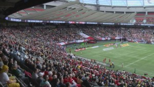 Excited crowd gets dancing at World Rugby Sevens