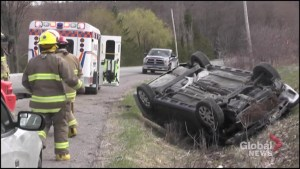 Rollover on Wallace Point Road south of Peterborough