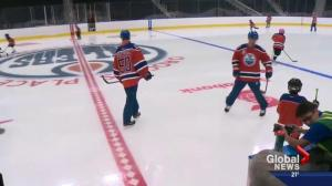 Oilers, minor hockey players hit the ice at Rogers Place