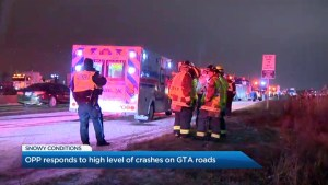 OPP says crews responds to high level of crashes on snowy GTA roads