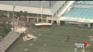 Irma drops boat on football field, sinks others into ocean