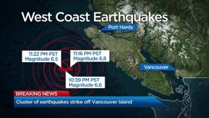 String of earthquakes hit off coast of Vancouver Island