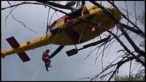 RCAF Search and Rescue Helicopters saves two from Cordova Lake