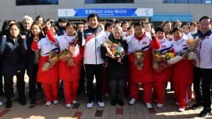North Korean hockey team meets South Korean teammates ahead of Pyeongchang Olympics