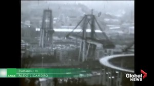 File footage shows construction of highway bridge in Italy which collapsed