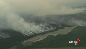 Aerial vews of wildfires around 100 Mile House