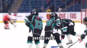 Young player mic'd up during intermission at Saskatoon Blades game