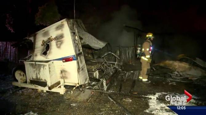 Fire in northwest calgary destroys garage and motor home for Garage ad colleville montgomery