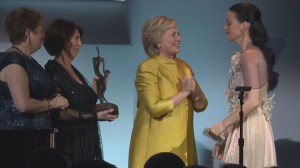 Hillary Clinton surprises Katy Perry with presentation of UNICEF award
