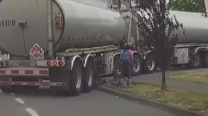Dash cam captures cyclist's bike getting crushed by tanker truck