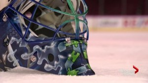 Canucks goalie takes support for autism onto the ice
