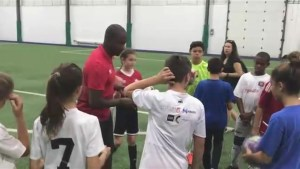 Canadian soccer star Patrice Bernier encourages local talent