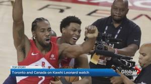 Raptors fans congregate outside Yorkville hotel for Kawhi Leonard