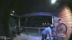 WATCH: Late-night thief quickly takes off with locked bicycle on front porch