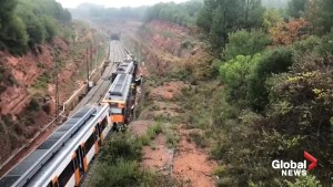 Emergency personnel respond to scene of train derailment in Spain
