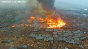 Aerial footage captures massive fire in residential Lagos neighbourhood