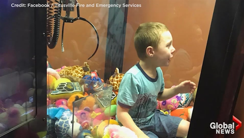 Florida boy gets stuck inside claw machine