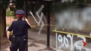 Bus shelter defaced with anti-semitic graffiti in Thornhill