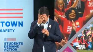 Andrew Yang sheds tears talking to mother whose daughter was killed by stray bullet