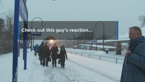 Montreal commuters hit by snow as train pulls up