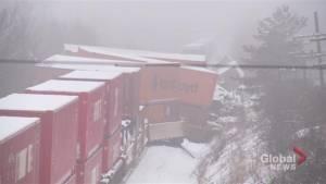 Investigation underway after freight train derailment west of Ajax