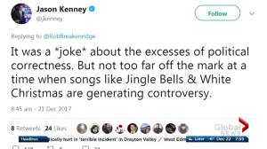 Jason Kenney receives Twitter backlash over Christmas comments